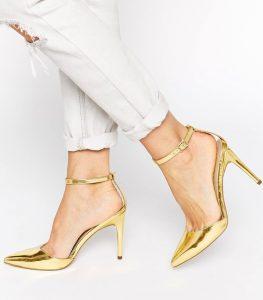 chaussures talons dorées