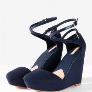 chaussures compensées bleu marine stradivarius