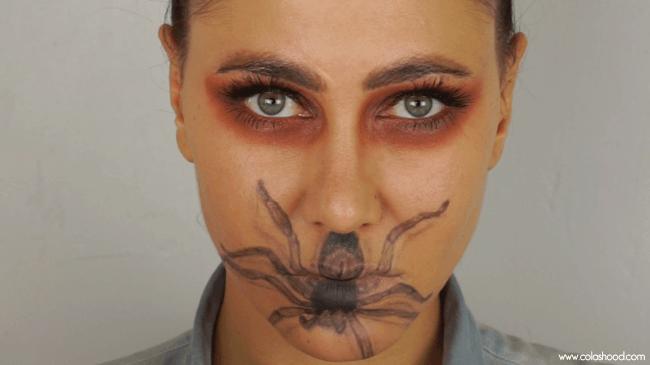 maquillage halloween araignée en 3D