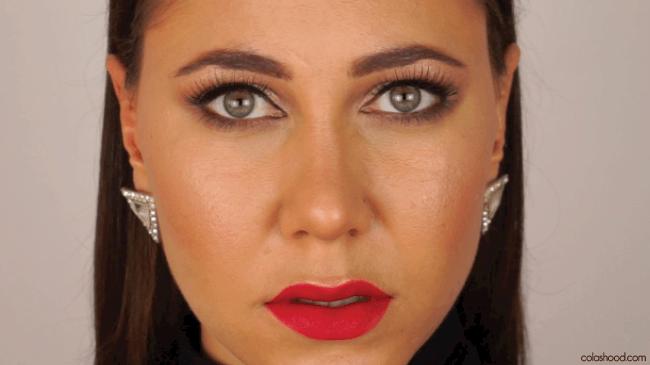 maquillage soirée bouche rouge