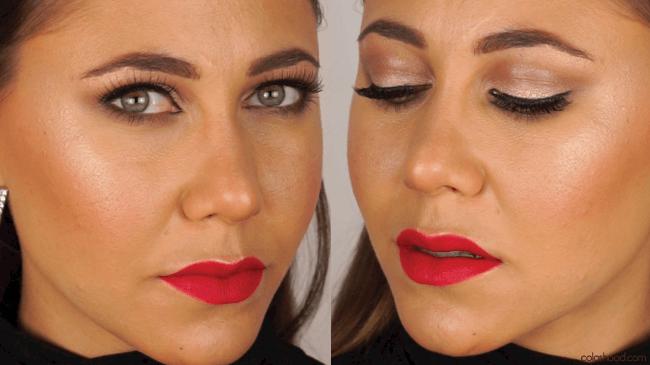 tutoriel maquillage de soirée avec levres rouges