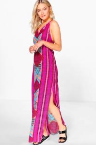 robe maxi fendue des deux cotés rose