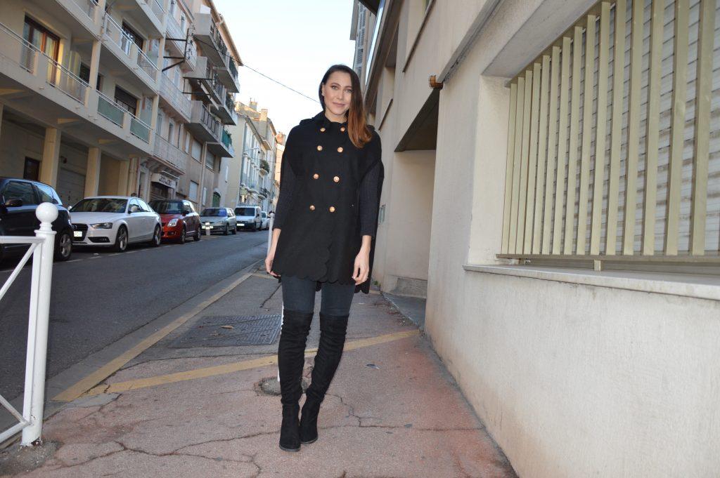 manteau cape femme noir