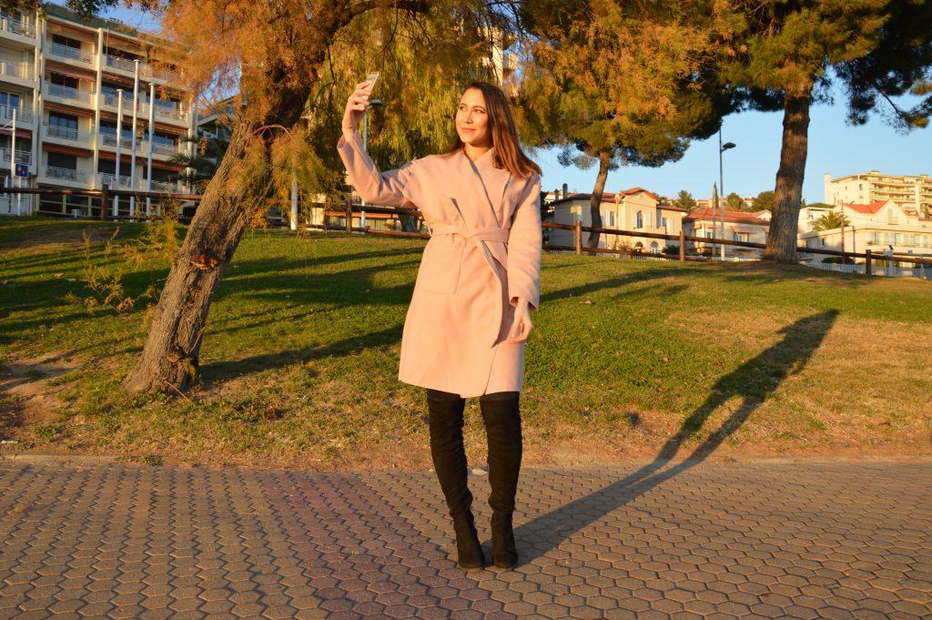 manteau femme rose